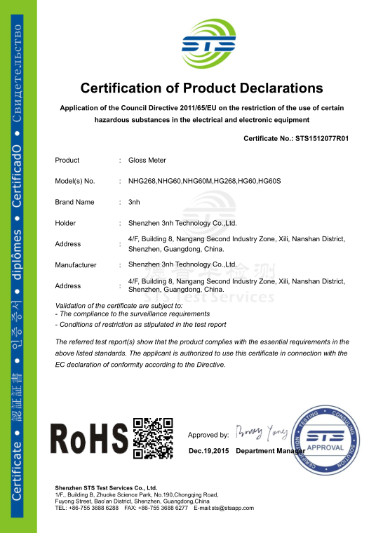 gloss meter Rohs certifications