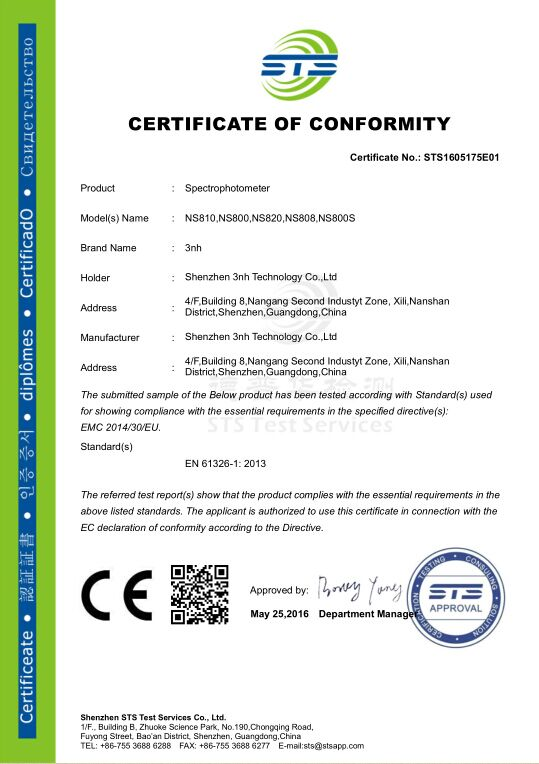 3nh spectrophotometer passed new EU directive CE certification