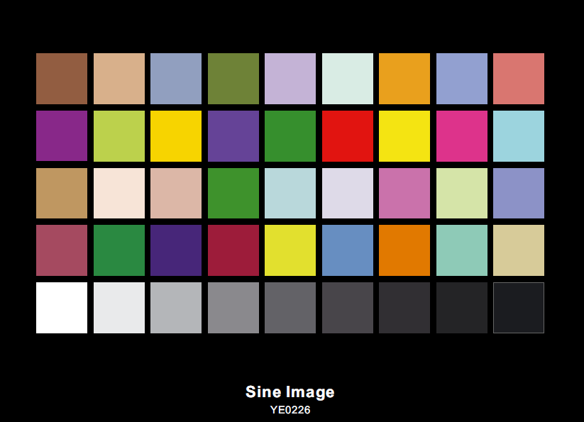 Sineimage DTV Color Rendition Test Chart YE0226 Transparent
